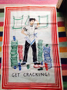 Vintage Irish Linen Tea Towel  Kitchen Capers by Onmykitchentable