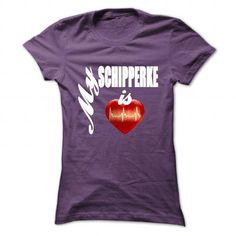 My Schipperke is my heart T Shirts, Hoodies, Sweatshirts. CHECK PRICE ==► https://www.sunfrog.com/Pets/My-Schipperke-is-my-heart-Purple-52040473-Ladies.html?41382