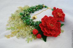 Green Statement Wirework Necklace with Red Flower Peony Brooches, Semiprecious Beading Necklace, Holiday Necklace, Gift for Her