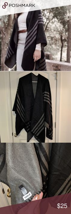 BB Dakota reversible poncho Black and gray, never worn or washed! Comes from a clean smoke free home BB Dakota Jackets & Coats Capes