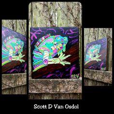 Colorful IGUANA Reptile ART Scott D Van Osdol by MySalvagedPast