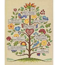 """I think I could do this. Cross stitch is pretty easy. Vintage Family Tree Counted Cross Stitch Kit-9""""X12"""" 14 Count"""