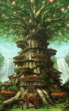 Fantasy city with houses built in a giant tree.  Yun Byoung Chul.  Pene Menn.