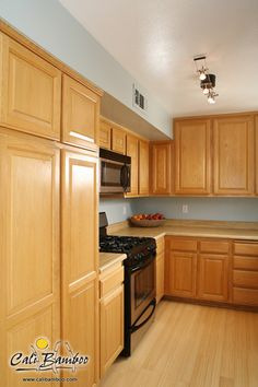 Natural bamboo flooring for a clean kitchen look