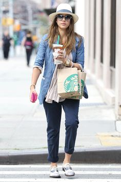 Jessica Alba on the street in New York - celebrity fashion