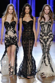 See more New strapless dresses for ladies catwalk - nude/black dresses lace overlays