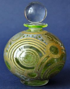 Timothy Harris Isle of Wight Studio Glass Graal  Green Perfume Bottle Gold Circles http://www.bwthornton.co.uk/isle-of-wight-richard-golding-bath-aqua-glass.php
