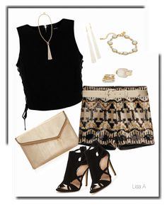 """""""Dancing with DJ"""" by labond ❤ liked on Polyvore featuring Henri Bendel, Marciano, H&M, Lauren Ralph Lauren, Sole Society, Fiona Paxton, Decree and Kate Spade"""