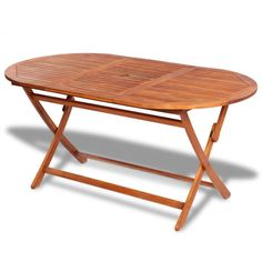 Wooden Garden Dining Table Outdoor Patio Furniture Acacia Wood Folding Oval New