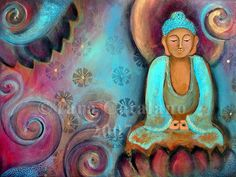 Artist Tara Catalano on Etsy.  Always creating fun and vibrant mixed media Buddha artwork.