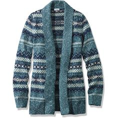 L.L.Bean Textured Stitch Open Cardigan, Fair Isle  Misses Petite ($80) ❤ liked on Polyvore featuring tops, cardigans, l.l.bean cardigan, ruched top, blue top, petite open front cardigan and fitted cardigan