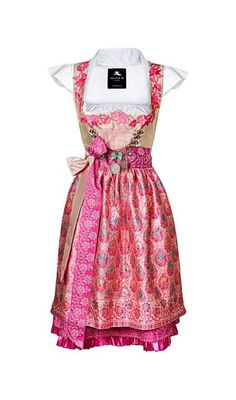 Dirndl by Anina W made from Indian Sari beige/pink unique