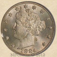 1884 Liberty Nickel MS65 PCGS ~ CAC, obverse