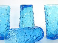 Retro Dishes Glassware Bumpy Blue Vintage Drinking Glasses Water Tumblers Set of 4. $20.00, via Etsy.