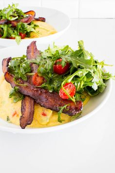 For the foodie creatives out there, amp up this Creamy Goat Cheese Polenta recipe with a fresh Arugula Salad and a Bacon garnish