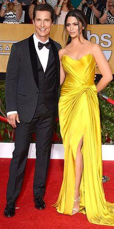 Matthew McConaughey, in Dolce & Gabbana, and Camila Alves, in vintage Donna Karan Atelier - SAG Awards 2014