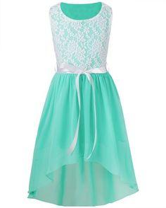 iiniim Girl's Sleeveless Asymmetrical Chiffon Dress Party Graduation Communion Clothes Turquoise 6 Years