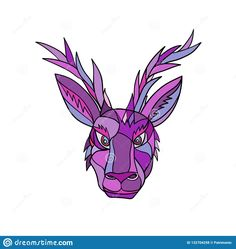 Mosaic low polygon style illustration of head of a jackalope, a mythical animal of North American folklore, described as a jackrabbit with antelope horns on isolated white background in color