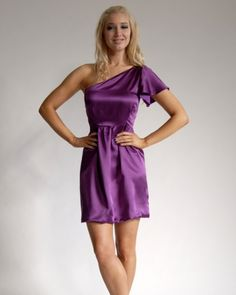 One-Shoulder Purple Bridesmaid Dress