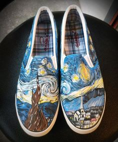 Custom Shoes ,The Starry Night by Vincent Van Gogh from AnnatarCustomizer on Etsy. Saved to Shoes. Painted Vans, Painted Sneakers, Hand Painted Shoes, Painted Clothes, Vans Shoes, Shoes Heels, Dress Shoes, Pumps, Adidas Shoes