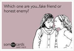 Which one are you...fake friend or honest enemy?