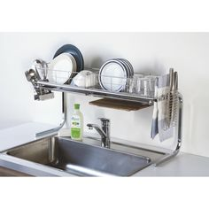 39 Most Noticeable Kitchen Racks Household Stainless Steel Sink - flipsyourhome Kitchen Interior, Interior Design Living Room, Kitchen Decor, Kitchen Design, Kitchen Organisation, Kitchen Storage, Kitchen Racks, Minimalist Kitchen, Kitchen Accessories