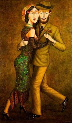 "Zviad Gogolauri (Rustavi,Georgia born Love, The Argentina Family~ Memories of Tango and Kugel; Mate with Knishes""- Shall We Dance, Lets Dance, Tango Art, Georgie, Tango Dancers, Frida Art, Dance Paintings, Painting Art, The Embrace"