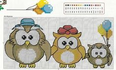 Ricami e schemi a Punto Croce gratuiti: Cross stitch - raccolta di piccoli gufi colorati