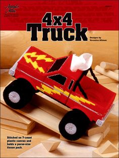 Plastic Canvas Tissue Box Patterns - 4 x 4 Truck Plastic Canvas Tissue Boxes, Plastic Canvas Crafts, Plastic Canvas Patterns, Man Crafts, Music Crafts, Kids Crafts, Canvas Designs, Canvas Ideas, Monster Trucks