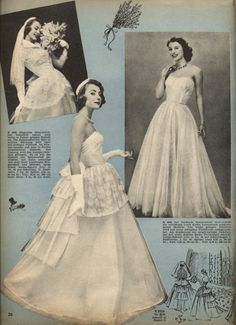1955 German bridal fashion from Burda Moden magazine Wedding Gowns, Wedding Day, Vintage Bridal, Vintage Weddings, Vintage Wardrobe, Bridal Style, Disney Characters, Fictional Characters, Fashion Outfits