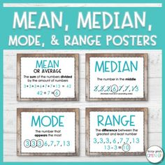 Looking for a visual to help your students with determining the mean median mode and range of a data set? These simple posters are designed to help your students remember key words and formulas for each of the terms. WHAT'S INCLUDED? 2 Options for Mode Math, Mean Median And Mode, Statistics Math, Mode Poster, Math Anchor Charts, Math Vocabulary, Math Formulas, Homeschool Math, Homeschooling