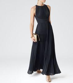 Womens Lux Navy Pleated Maxi Dress - Reiss Winnie
