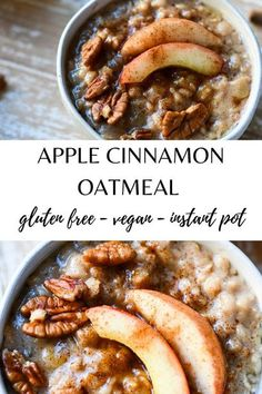 Easy and creamy instant pot apple cinnamon oatmeal that is gluten and dairy free is the perfect simple breakfast that will fuel you up for the day. The delicious flavors make this comforting and healthy at the same time. Dairy Free Breakfasts, Gluten Free Recipes For Breakfast, Instant Pot Oatmeal Recipe, Apple Cinnamon Oatmeal, Fast Easy Meals, Healthy Dinners, Gluten Free Oatmeal, Crockpot Recipes, Ninja Recipes
