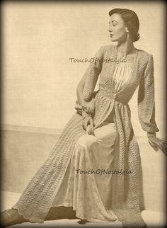 LONG DRESSING GOWN (Robe) Knitting Pattern Vintage - Elegant Open Sleeves Stunning / Perfect for the Boudoir Bridal Special Occasion