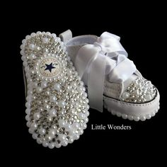 Swarovski Rhinestone And Pearl Baby Bling Converse Kids Converse Shoes, Toddler Converse, Baby Converse, Baby Sneakers, Bling Bling, Baby Bling, Camo Baby, Rhinestone Shoes, Bling Shoes