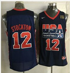 Nike Team USA  12 John Stockton Dark Blue 2012 USA Basketball Retro Stitched  NBA Jersey 1127578ee