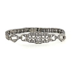Art Deco Platinum Diamond Bracelet Circa Early 1900's