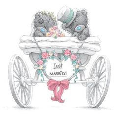 Tatty Teddy Bears - Just Married Tatty Teddy, Teddy Images, Cute Images, Cute Pictures, Teddy Hermann, Blue Nose Friends, Bear Illustration, Love Bear, Cute Teddy Bears