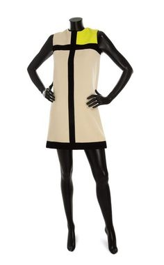 Seen in The Fashion Institute of Technology Museum: Mondrian inspired dress by Yves Saint Laurent from 1966