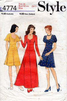 1970s Flared Sweetheart Dress Pattern Style 4774 by BessieAndMaive