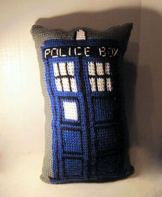 Crochet Tardis Pillow - Doctor Who - Blue and Gray - Tunisian Crochet