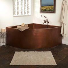 "85""+Crosley+Double-Wall+Copper+Corner+Soaking+Tub+w/+Seats"
