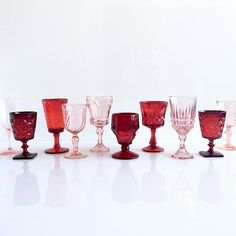 borrowedBLU//Gearing up for #valentinesday with this pretty combo of #pinkandred pressed glassware! ❤️❤️
