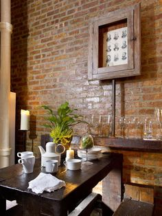 Tiny NYC Apartment Dining Room: DIY Parsons-style table and bench seating from reclaimed lumber. (HGTV's DanMade) --> http://www.hgtv.com/decorating-basics/urban-spaces-creative-couples-shotgun-style-nyc-apartment/pictures/page-10.html?soc=pinterest