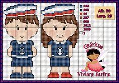Boa tarde!!! Mais uns gráficos novinhos!! Com o tema de marinheiros, com versão também para as meninas! E para completar um mono com...