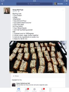 Banting Rusks Read More Source: – Related Diabetic Menu, Diabetic Snacks, Diabetic Recipes, Low Carb Recipes, Cooking Recipes, Pancake Recipes, Bread Recipes, Easy Recipes, Rusk Recipe