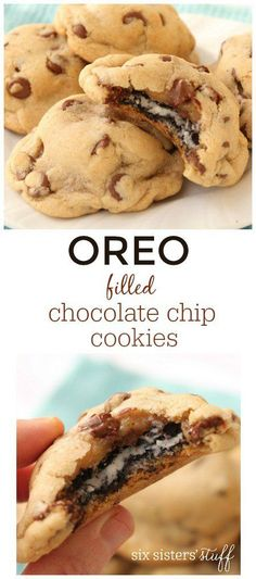 These cookies are the best of 2 worlds! They are for the double stuff OREO cookie lover and the moist and chewy Chocolate Chip cookie lover! It's really like eating 3 cookies. The OREO is surrounded w Baking Recipes, Cookie Recipes, Dessert Recipes, Just Desserts, Delicious Desserts, Yummy Food, Tasty, Chewy Chocolate Chip Cookies, Chocolate Cake