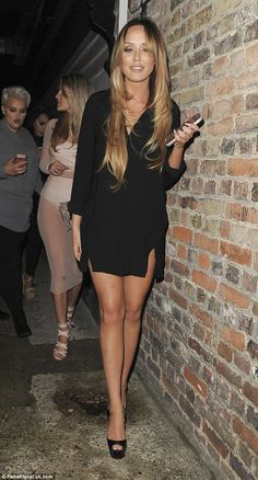 Leggy display: Charlotte Crosby looked incredible in a thigh-skimming minidress with a saucy side-split as she enjoyed a night out in London on Tuesday