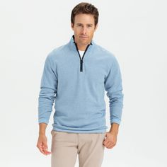 DEVON 1/4 ZIP SWEATER: We went back to the drawing board on our 1/4 zip sweater and we think we got it just right. Lower front label puts a spin on the johnnie-O logo and the fabric makes this our classiest sweater this season.