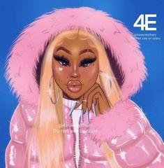 Black Love Art, Black Girl Art, Black Is Beautiful, Black Girl Magic, Dope Cartoon Art, Black Girl Cartoon, Drawings Of Black Girls, Girl Cartoon Characters, Black Fairy
